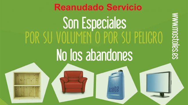 Restablecido el servicio de recogida de muebles con la reapertura de puntos limpios fijos