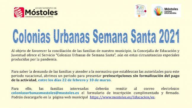 Móstoles abre el plazo de inscripción para las Colonias Urbanas de Semana Santa